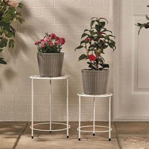 Garden Gear Plant Pot Stand ? 2 Pack White