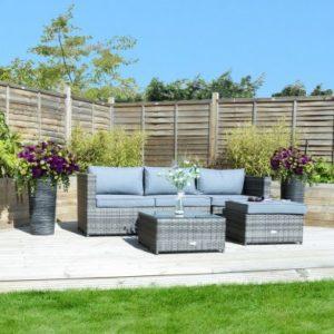 Rattan L-Shaped 3 Seater Garden Lounge Furniture Set Grey
