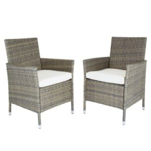 Verona Pair Of Rattan Dining Chairs Garden Furniture - Brown