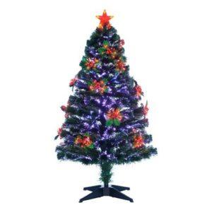 120cm (4 Foot) Multicoloured Holly Fibre Optic 125 Tips Christmas Tree