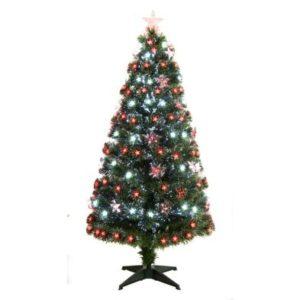 120cm (4 Foot) Red & White Fibre Optic 125 Tips Christmas Tree
