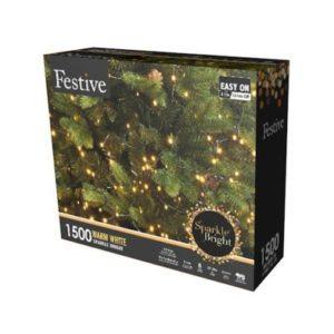 1500 LED Warm White 37.4m Fairy Christmas Tree Outdoor Lights