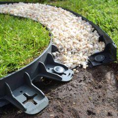 22.5m EcoGrid Flexible Lawn Edging - Black - H6cm