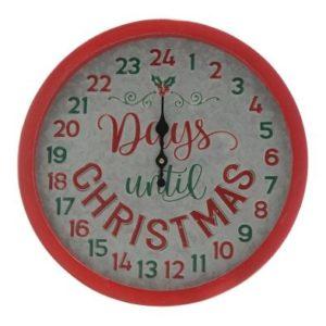 Red & Green Wooden Days Countdown Advent Calendar Clock 36cm