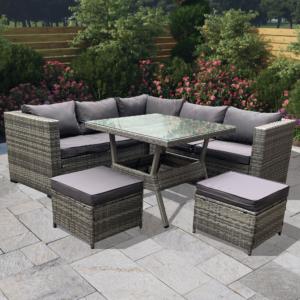 BillyOh Milan 6 Seater Corner Outdoor Rattan Garden Sofa Set Grey - L-Sofa with Table and 2 Seats- Grey