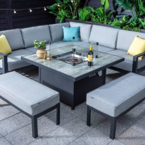Hartman Apollo 6 Seat Square Casual Aluminium Dining Set With Gas Fire Pit & Benches (Carbon/Pewter)