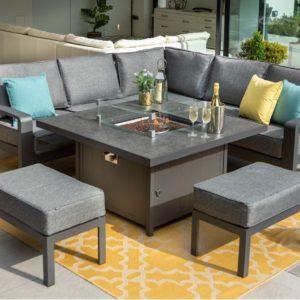 Hartman Aurora 6 Seat Square Casual Aluminium Dining Set With Gas Fire Pit Table & Benches (Matt Xerix / Flint)